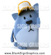 Illustration of a 3d Chubby Blue Cat Wearing a Baseball Cap by a Sign by Julos