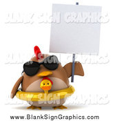 Illustration of a 3d Chubby Brown Chicken Wearing an Inner Tube, Sunglasses and Blank Sign by Julos