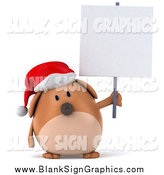 Illustration of a 3d Chubby Brown Christmas Dog Holding a Blank Sign by Julos