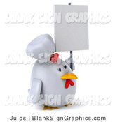 Illustration of a 3d Chubby Chef Chicken with a Blank Sign by Julos