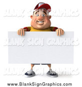Illustration of a 3d Chubby Man Standing with a Blank Sign by Julos
