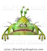 Illustration of a 3d Chubby Monster or Germ Above a Blank Sign by Julos