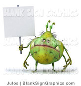 Illustration of a 3d Chubby Monster or Germ with a Blank Sign by Julos