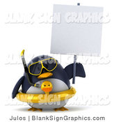 Illustration of a 3d Chubby Snorkel Penguin with an Inner Tube and Blank Sign by Julos