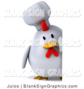 Illustration of a 3d Chubby White Chef Chicken with a Blank Sign by Julos