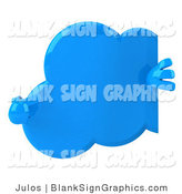 Illustration of a 3d Cloud Pointing at a Blank Sign by Julos