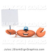 Illustration of a 3d Crab Wearing a Baseball Cap and Holding a Blank Sign by Julos