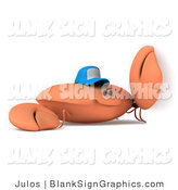 Illustration of a 3d Crab Wearing a Baseball Cap by a Blank Sign by Julos