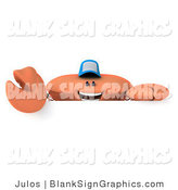 Illustration of a 3d Crab Wearing a Baseball Cap over a Blank Sign by Julos