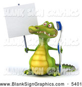 Illustration of a 3d Crocodile Holding a Toothbrush and Blank Sign by Julos