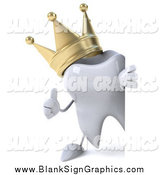 November 12nd, 2014: Illustration of a 3d Crowned Tooth Character Holding a Thumbs up Around a Blank Sign by Julos