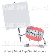Illustration of a 3d Dentures Character with a Blank Sign by Julos
