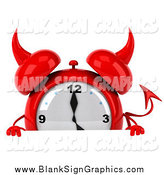 Illustration of a 3d Devil Alarm Clock over a Sign by Julos