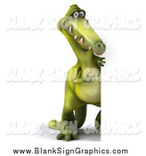 Illustration of a 3d Dinosaur Looking Around a Blank Sign by Julos