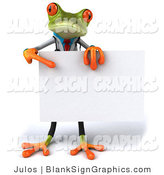 Illustration of a 3d Doctor Frog Holding a Blank Sign by Julos