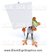 Illustration of a 3d Doctor Frog Holding up a Blank Sign by Julos