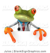 Illustration of a 3d Doctor Frog with a Blank Sign by Julos