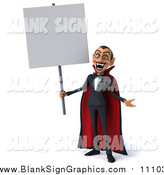 Illustration of a 3d Dracula Vampire Holding a Blank Sign by Julos