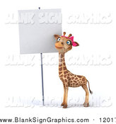Illustration of a 3d Female Giraffe Standing by a Blank Sign by Julos