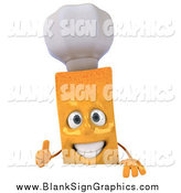 Illustration of a 3d French Fry Character Chef Giving a Thumb up over a Sign by Julos
