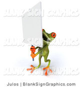 Illustration of a 3d Frog Holding a Blank Sign by Julos
