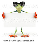Illustration of a 3d Frog Wearing Sunglasses and Holding a Blank Sign by Julos