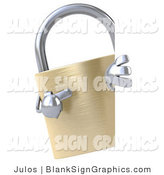 Illustration of a 3d Golden Padlock with a Blank Sign by Julos