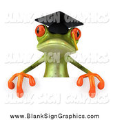 Illustration of a 3d Graduate Frog over a Sign by Julos