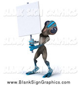 Illustration of a 3d Gray and Blue Alien Holding a Blank Sign by Julos
