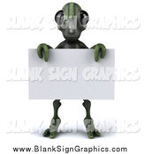 Illustration of a 3d Green Alien Holding a Blank Sign by Julos