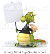 Illustration of a 3d Green Business Dragon Holding a Blank Sign by Julos