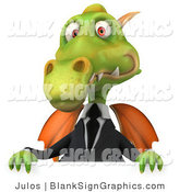 Illustration of a 3d Green Business Dragon Holding up a Blank Sign by Julos