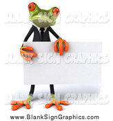 Illustration of a 3d Green Business Frog Holding a Blank Sign by Julos