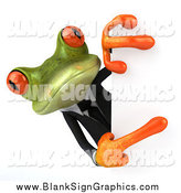 Illustration of a 3d Green Business Frog Pointing Around a Sign by Julos
