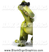 Illustration of a 3d Green Dinosaur Wearing Shades and Looking Around a Blank Sign by Julos