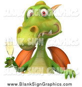 Illustration of a 3d Green Dragon with Champagne over a Sign by Julos