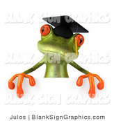 Illustration of a 3d Green Frog Graduate Holding a Blank Sign by Julos