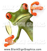 Illustration of a 3d Green Frog Holding a Champagne Glass Around a Blank Sign by Julos