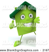 Illustration of a 3d Green Home Character Holding a Thumb up Around a Blank Sign by Julos