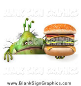 Illustration of a 3d Green Monster or Germ Holding a Cheeseburger over a Sign by Julos