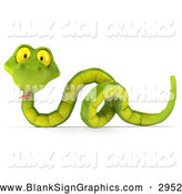 Illustration of a 3d Green Snake over a Blank Sign by Julos