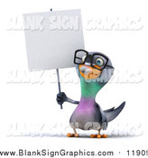 Illustration of a 3d Happy Bespectacled Pigeon Holding a Blank Sign by Julos