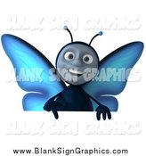 Illustration of a 3d Happy Blue Butterfly Pointing down over a Sign by Julos