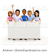 Illustration of a 3d Happy Business Team Holding a Blank Sign by