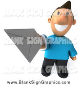 October 24th, 2014: Illustration of a 3d Happy Casual White Man Holding up an Envelope by Julos