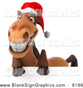Illustration of a 3d Happy Christmas Horse Smiling over a Sign by Julos