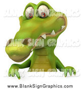 Illustration of a 3d Happy Crocodile Pointing down to a Sign by Julos