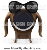 Illustration of a 3d Happy Dachshund Dog Wearing Shades over a Blank Sign by Julos