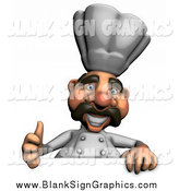 Illustration of a 3d Happy Male Chef Holding a Thumbs up over a Blank Sign by Julos