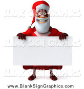 Illustration of a 3d Happy Super Santa Holding a Blank Sign by Julos
